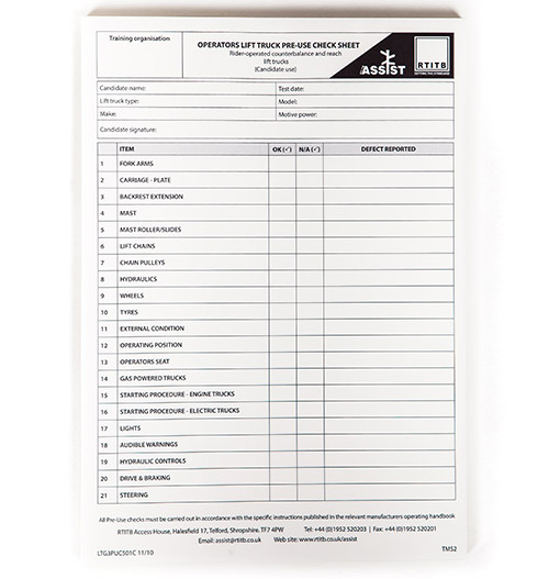 Test Marking Sheets: Pre-use Inspection -41
