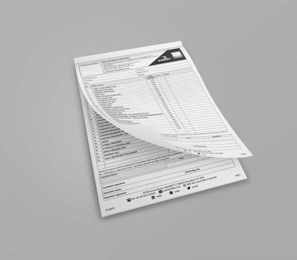 Test Marking Sheets: Pre-use Inspection -157