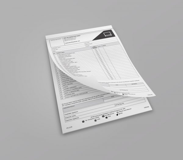 Test Marking Sheets: Pre-use Inspection -0